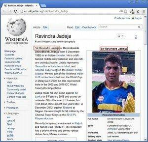 Sir Ravindra Jadeja Wikipedia Page